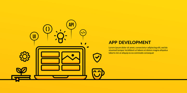 App development with outline element on yellow background, UX UI design concept