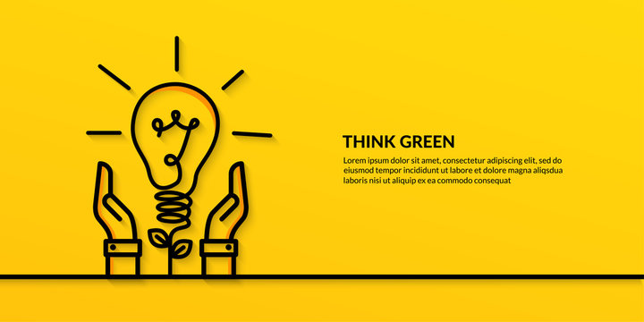 Save the world concept with hand hold light bulb, flat nature ecology on yellow background