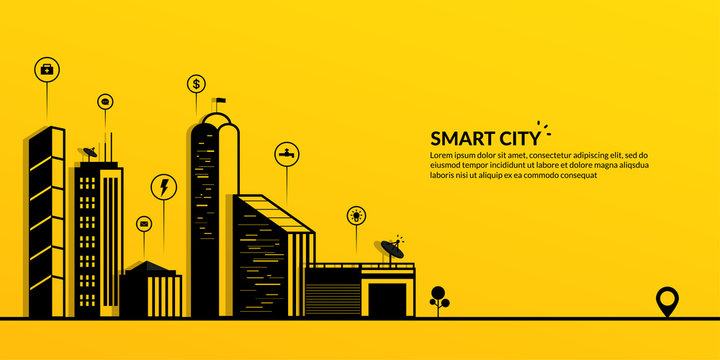 Smart city with the connected metropolis on yellow background