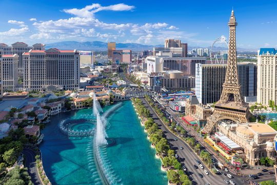 Las Vegas strip skyline, Aerial view at sunny day in Las Vegas, Nevada.