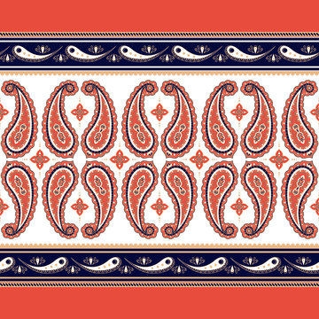 Indian paisley pattern vector seamless border. Floral oriental motif for decoration women clothing, batik fabric or wallpaper print. Boho ethnic design for silk scarf, gypsy rug, bandana, blanket.