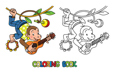 Monkey musician ABC coloring book. Alphabet M