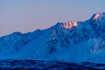 sunrise in the mountains of Northern Norway