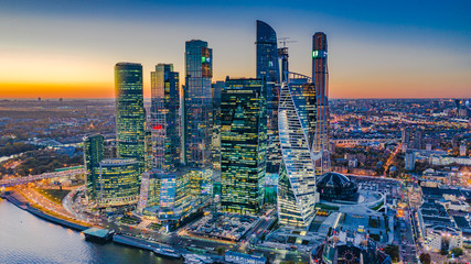 Printed kitchen splashbacks Moscow Aerial view Moscow City skyline and skyscraper building construction architecture, Moscow City international business and financial center at sunset with Moscow river, Russia.