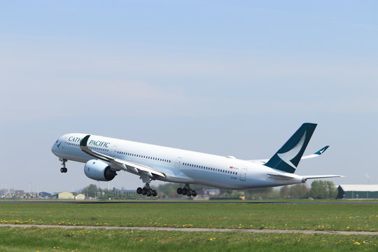 Amsterdam the Netherlands - April 22nd, 2019: B-LXB Cathay Pacific Airbus A350