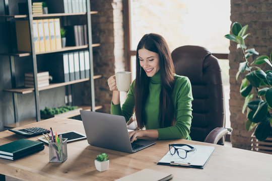 Profile photo of pretty young business lady looking screen notebook table modern user chatting partners drink hot tea mug sitting boss chair wear green turtleneck modern interior office