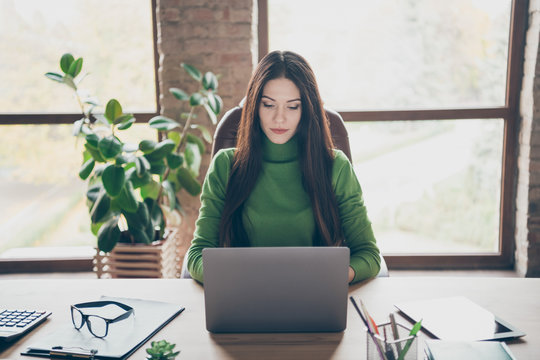 Photo of amazing brunette business lady resourceful person looking seriously notebook on table modern user sitting boss chair wear green turtleneck in modern interior office