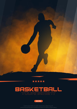 Basketball banner with players. Modern sports posters design.