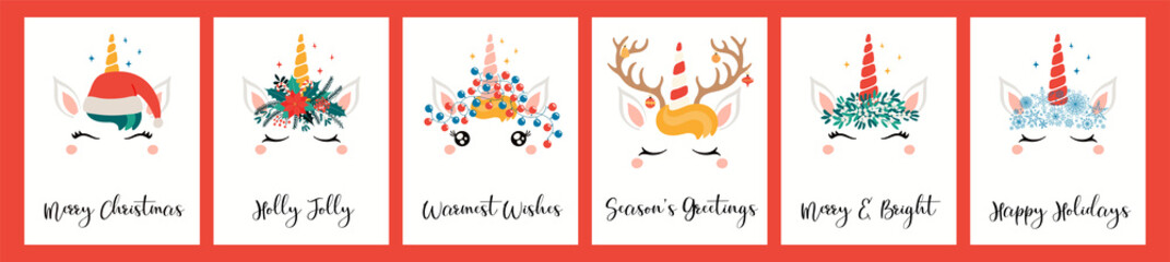 Collection of Christmas cards with different cute unicorn faces, in Santa Claus hat, with antlers, text. Hand drawn vector illustration. Flat style design. Concept for holiday print, invite, gift tag.