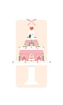 Wedding Cake with Couple illustration card