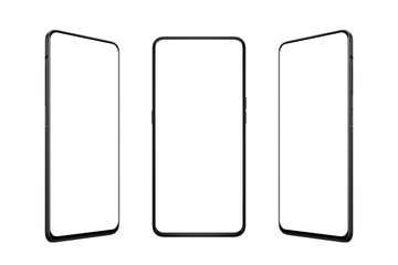 Isolated smart phone in three positions. Front, left and right side. Isolated screen for mockup,...