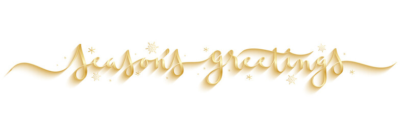 Wall Mural - SEASON'S GREETINGS wide metallic gold vector brush calligraphy banner with snowflakes