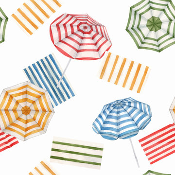 Beautiful vector watercolor seamless pattern with beach sun umbrellas. Ready summer print for swimwear fabric.