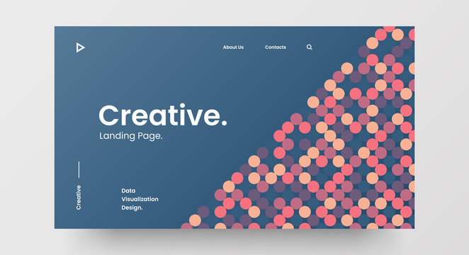 Creative horizontal website screen part for responsive web design project development. Abstract geometric pattern banner layout mock up. Corporate landing page block vector illustration template.