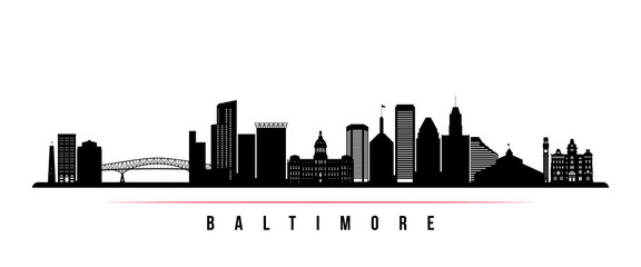 Baltimore skyline horizontal banner. Black and white silhouette of Baltimore, Maryland. Vector template for your design.