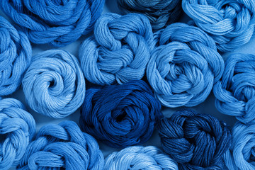 Blue classical threads for needlework