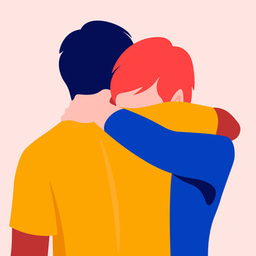 Two men hug each other. Best friends. Father and son met. Support and assistance in problems. Partners are experiencing a tragedy. Vector flat illustration