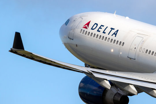 Delta Air Lines Airbus A330 passenger plane taking off from Amsterdam-Schiphol International Airport on January 9, 2019