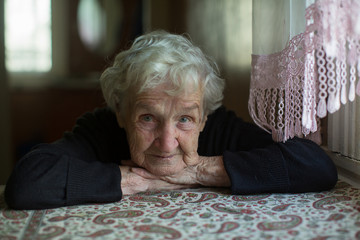 Portrait of the lone gray-haired elderly woman.