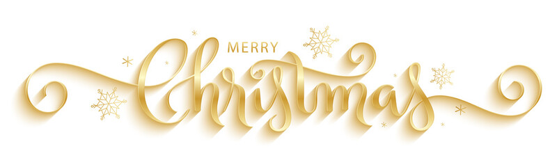 Wall Mural - MERRY CHRISTMAS gold metallic brush calligraphy banner with snowflakes