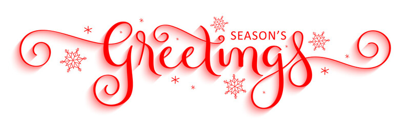 Wall Mural - SEASON'S GREETINGS red vector brush calligraphy banner with snowflakes