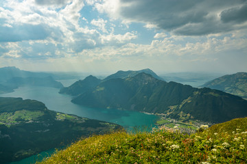 Nice view on Lake Luzern and Swiss Alps as seen from top of Fornalpstock peak above the village of Stoos