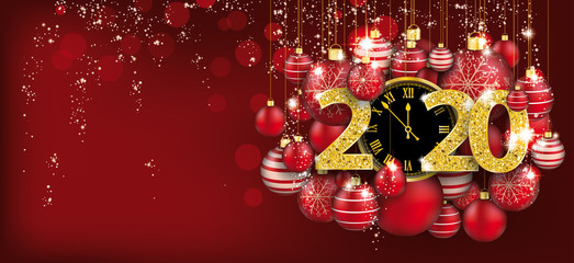 Hanging Red Baubles Christmas Golden Clock 2020 Header