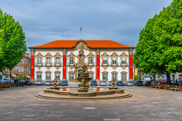 Town hall in the historical center of Braga, Portugal