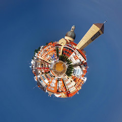 Getxo town and church with polar coordinates effect
