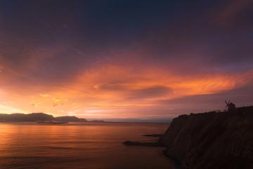 red beutiful sunset in Aixerrota in Getxo