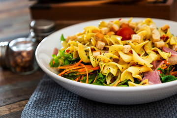 Delicious bacon chicken salad with cheese sauce