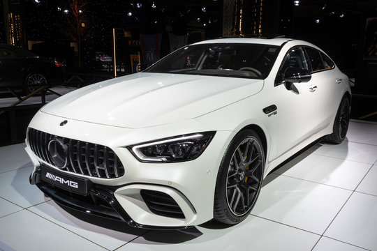 BRUSSELS - JAN 18, 2019: Mercedes-AMG GT 63 S sports car showcased at the Brussels Autosalon 2019 Motor Show.