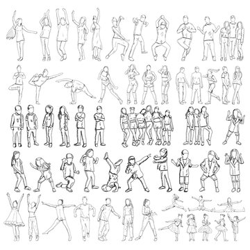 vector, white background, sketch people dance set