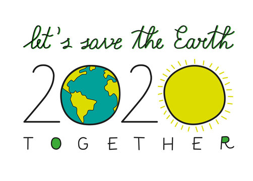 2020 New Year Card with an Environmental Message: Let's Save The Earth Together