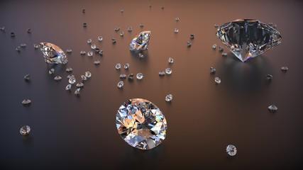 Foto op Canvas Surrealisme Group of Clear Diamonds on dark matte background. 3d rendering