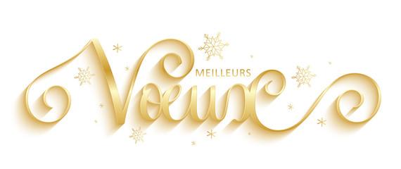 Wall Mural - Bannière calligraphique vecteur doré « MEILLEURS VOEUX »