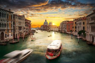 Foto auf Acrylglas Cappuccino Beautiful sunset over the Venice city with Santa Maria della Salute Basilica, Italy