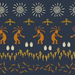 Folk, design with gecko, Kokopelli fertility god, sun, bird, cacti.