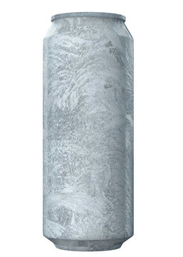 Heavily Frozen Big Ice Soda or Beer Can. Realistic 3D Illustration Isolated on White Background Close-Up.