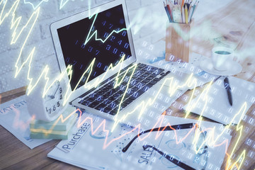 Printed roller blinds Graphic Prints Stock market graph and table with computer background. Multi exposure. Concept of financial analysis.