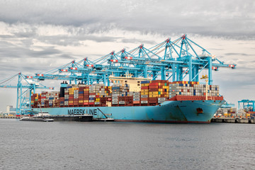 Maersk container ship moored in the Maasvlakte 2 in the Port of Rotterdam, The Netherlands, on August 23, 2017
