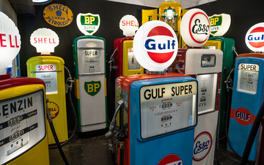 Various decorative vintage gas pumps for sale in Essen, Germany on March 23, 2018