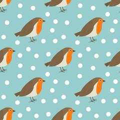Robin birds cute winter snowy pattern.
