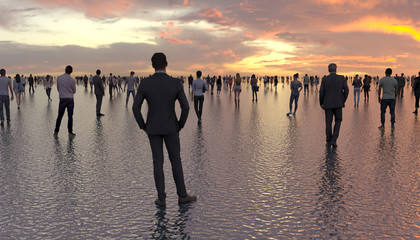 Papiers peints Saumon Many people walk and stand on the water surface. Human silhouettes on a background of a sunset on a calm sea. Superpowers of a person. Conceptual creative illustration. 3D rendering.