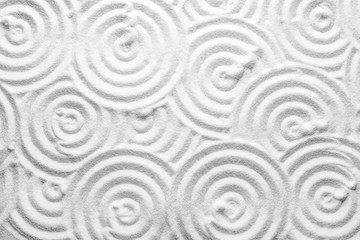 White sand with pattern as background, top view. Zen, meditation, harmony Fototapete