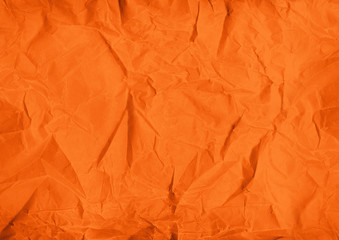 orange crumpled paper texture background