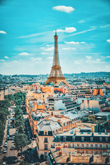 Wall Mural - PARIS, FRANCE- JULY 06, 2016 : Beautiful panoramic view of Paris from the roof of the Triumphal Arch. View of the Eiffel Tower.