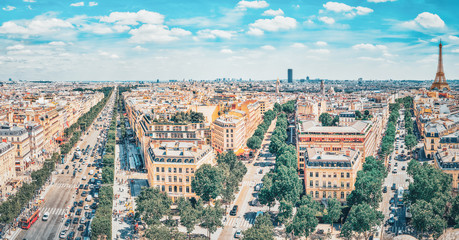 Fotomurales - PARIS, FRANCE - JULY 06, 2016 : Beautiful panoramic view of Paris from the roof of the Triumphal Arch. Champs Elysees.