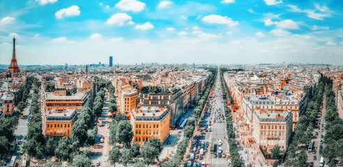 Fotomurales - PARIS, FRANCE- JULY 06, 2016 :Beautiful panoramic view of Paris from the roof of the Triumphal Arch. Champs Elysees and the Eiffel Tower.