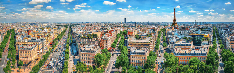 Fotobehang Parijs Beautiful panoramic view of Paris from the roof of the Triumphal Arch. Champs Elysees.